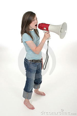 Young Girl Shouting Through Megaphone 3