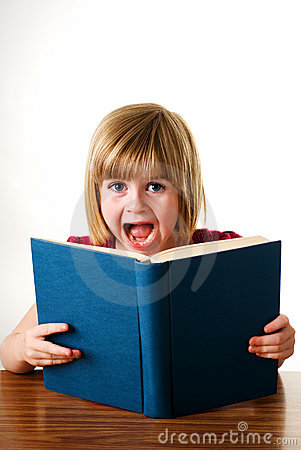 Young girl shouting over book