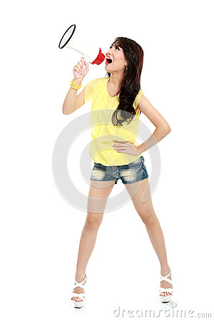 Young girl shouting