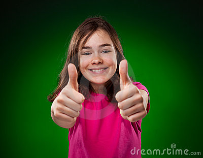 Young girl showing OK sign