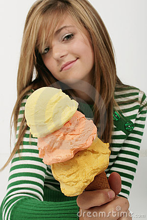 Free Young Girl Shows Off Ice-cream Royalty Free Stock Images - 3454389