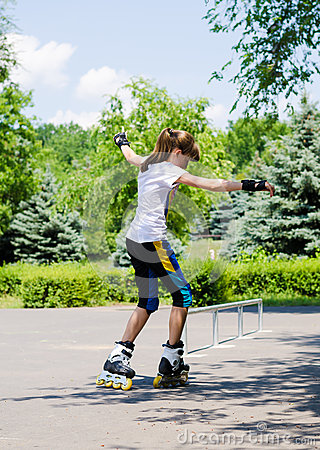 Free Young Girl Skating On Rollerblades Stock Image - 34469241