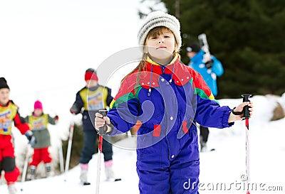 Young girl at ski school