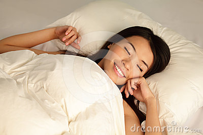 Young girl sleep peaceful  at night
