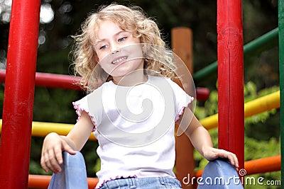 Young girl  slide