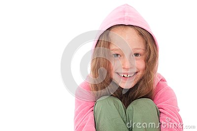 Young girl smiling with hood
