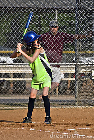 Young Girl Sofball player at Bat