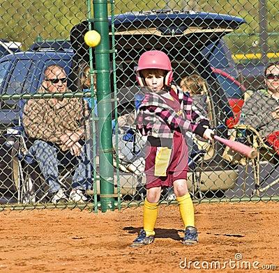 Young Girl Softball Player Editorial Stock Photo