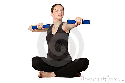 Young girl is sporting with weights