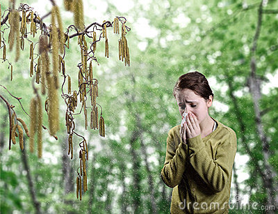 Young girl standing next to catkins blowing her no
