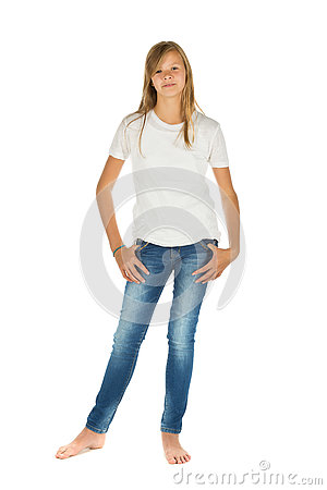 Free Young Girl Standing With White T-shirt And Blue Jeans Over White Royalty Free Stock Photo - 78171805