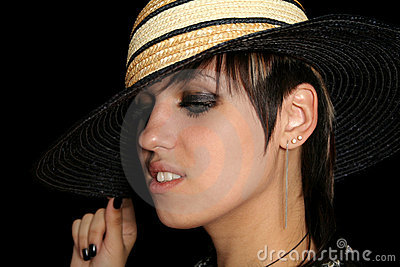 The young girl in a straw hat