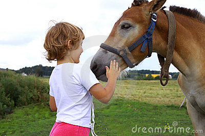 Young girl stroking horse