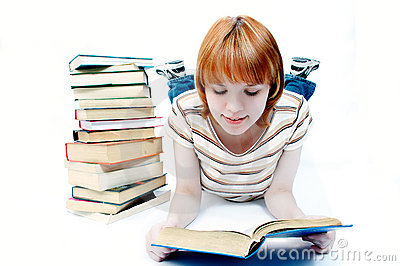 Young girl student read the book