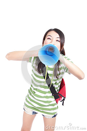 Young girl student yelling through megaphone
