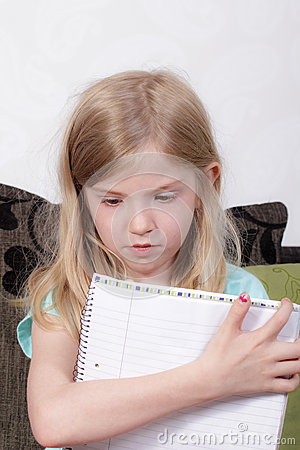 Young girl studying