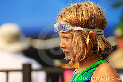 Young Girl at Swim Meet