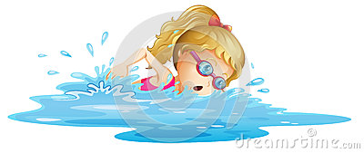A young girl swimming