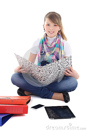Young girl with tablet pc and phone