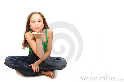 Young girl the teenager sends an air kiss
