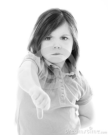 Young girl with thumbs down