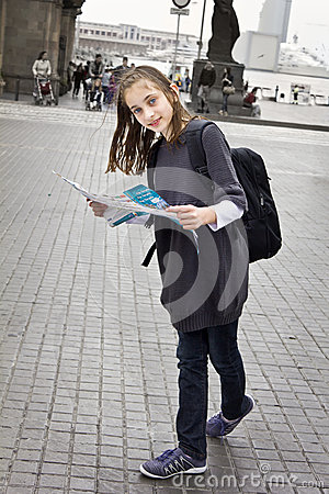 Young girl tourist