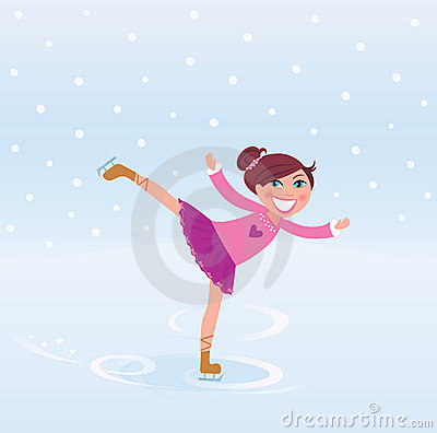 Young girl training ice figure skating