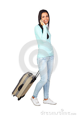 Young Girl with a Travel Suitcase