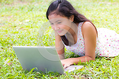 Young girl use laptop