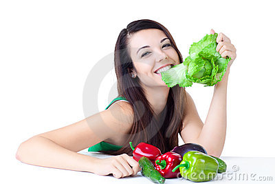 Young girl with  vegetables