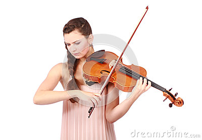 Young girl violinist playing