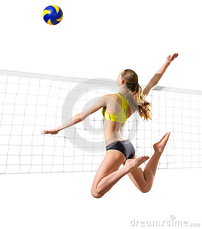Free Young Girl Volleyball Player Isolated Ver With Ball And Net Stock Photos - 95306923