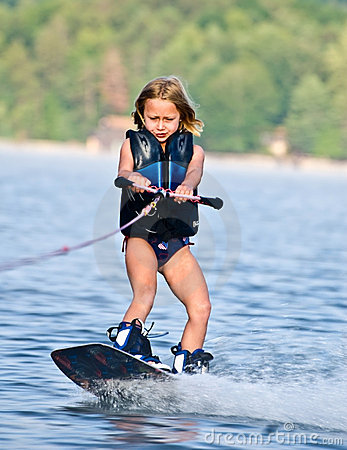Young Girl on Wakeboard
