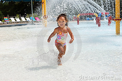 Young girl at a waterpark