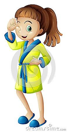 A young girl wearing a bathrobe