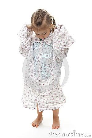 Young Girl Wearing Oversized Shirt