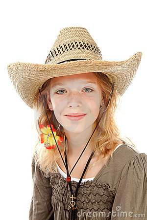 Young girl with western hat