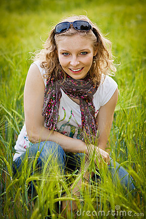 Young girl in wheat field