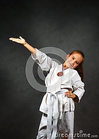 Young girl in a white kimono