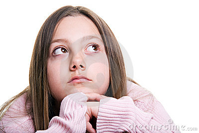 Young girl wishing isolated