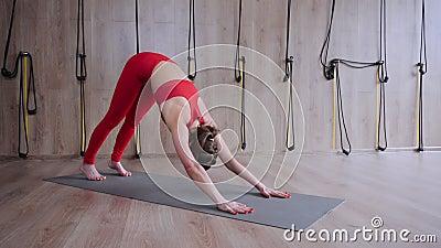 girl practice yoga asana with hands namaste behind her