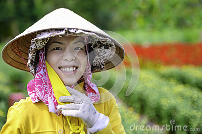 Young girl in flower gardens Editorial Photography