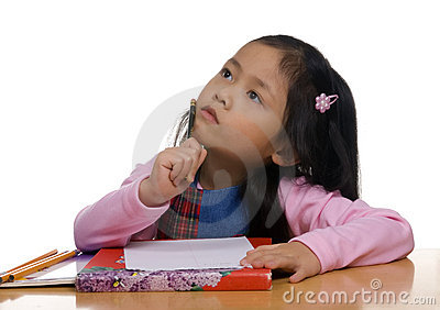 Young Girl writing 2