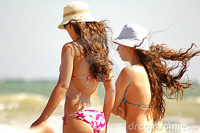 Young girls on beach