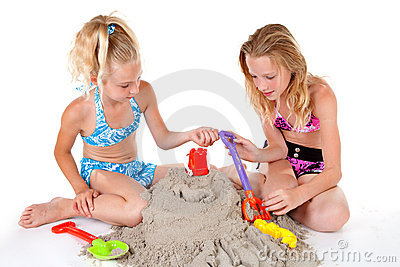 Young girls in beach wear