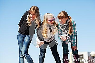 Young girls having a fun