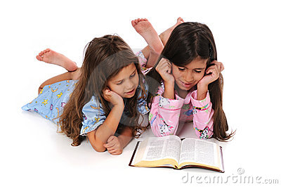 Young Girls Reading Bible