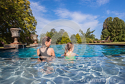 Young Girls Sitting Water Pool