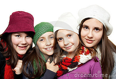 Young girls in winter outfits