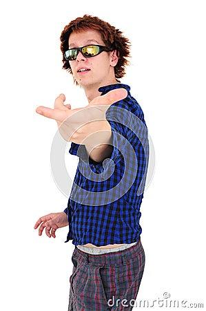 Young goofy man pointing at camera